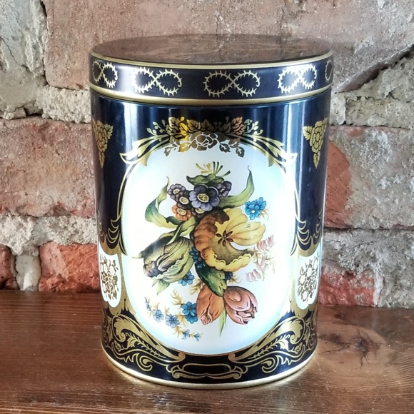 Vintage Made in England Lidded Tin Container 70s